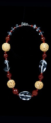 Quartz Pebble Threesome with Carnelian and Bone Necklace