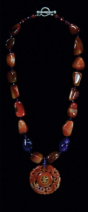 Carnelian Double Dragon Medallion and Pebbles Necklace