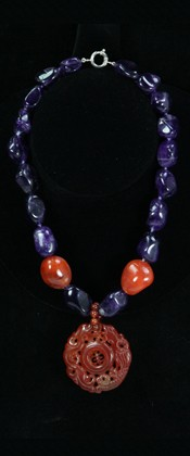Carnelian Dragon Good Health Medallion with  Amethyst Necklace