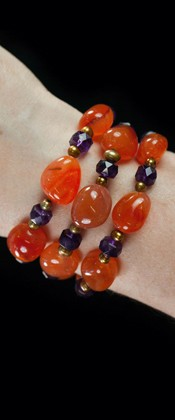 Carnelian and Amethyst Three Strand Bracelet