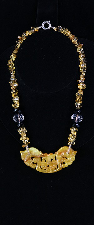 Double Dragon Medallion with Citrine Graduated Necklace