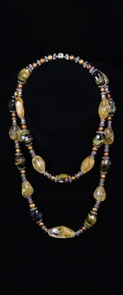 Citrine Nugget and Tiger Eye Graduated Necklace
