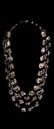 Citrine Nuggets and Black Onyx Graduated Necklace