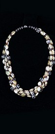 Keshi Pearl, Quartz and Garnet Torsade Necklace