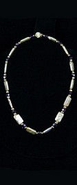 Tile Pearls with 14K Gold and Amethyst Necklace