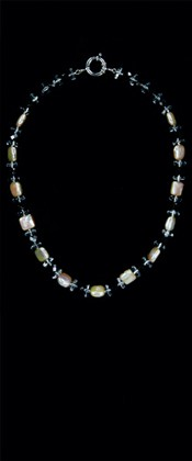 Tile Pearls with Aquamarine and Smoky Quartz Choker Necklace