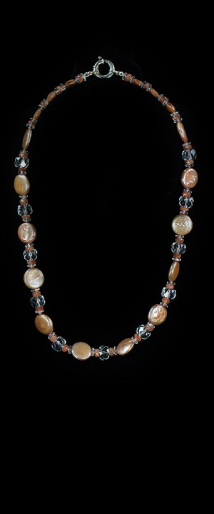 Apricot Coin Pearls with Sunstone and Quartz Choker Necklace