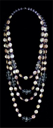 Coin Pearls with Quartz and Amethyst Graduated Necklace