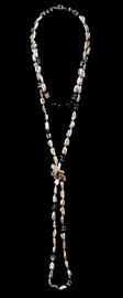 Black Onyx with Pale Pink Keshi Pearl Choker and Opera Necklace Set