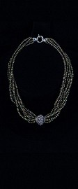 Sterling Silver Centerpiece with Sage Seed Pearl Torsade Necklace