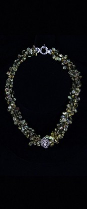 Sterling Silver Centerpiece and Green Keshi Pearl Torsade Necklace