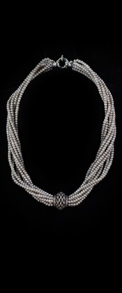 Sterling Centerpiece and Platinum Seed Pearl Choker Necklace