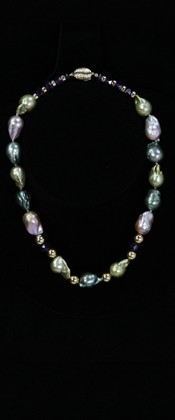 Pastel Baroque Pearls with Amethyst and 14K Gold Choker Necklace
