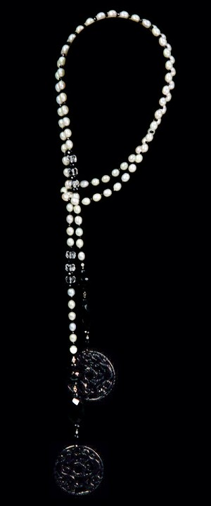 Double Dragon Medallions with White Coin Pearl Lariat