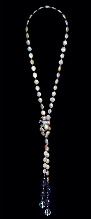 Coin Pearl Lariat with Amethyst and Quartz Tails
