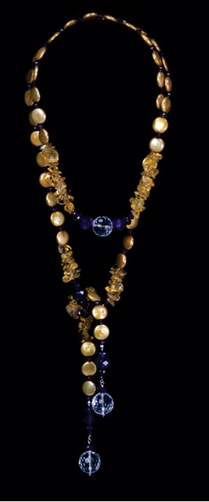 Gold Coin Pearl Lariat with Quartz and Amethyst Tails