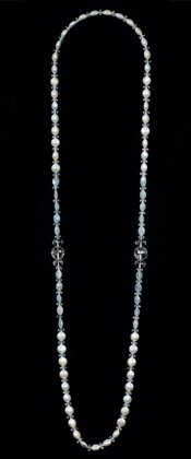Coin Pearls with Aquamarine Opera Necklace