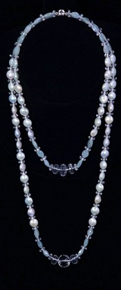 Coin Pearls and Aquamarine Graduated Necklace