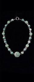 Jadeite Eternal Knot and Quartz Choker Necklace