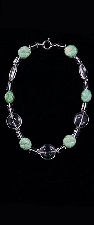 Day and Night Jadeite and Quartz Choker Necklace