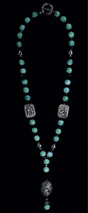 Sterling Medallions with Jadeite Pendant Necklace
