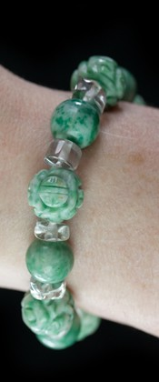 Jadeite with Tumbled Quartz Bracelet
