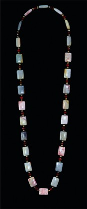 Jasper Tiles with Bronze Pearls and Carnelian Opera Necklace