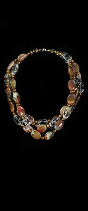 Jasper Pebbles and Bronze Pearl Torsade Necklace