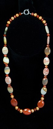 Carnelian Pebbles and Jasper Necklace