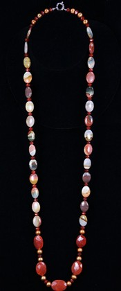 Carnelian Pebbles and Jasper Opera Necklace