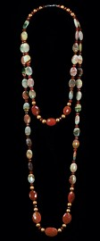 Carnelian Pebbles and Jasper Short and Opera Necklace Set