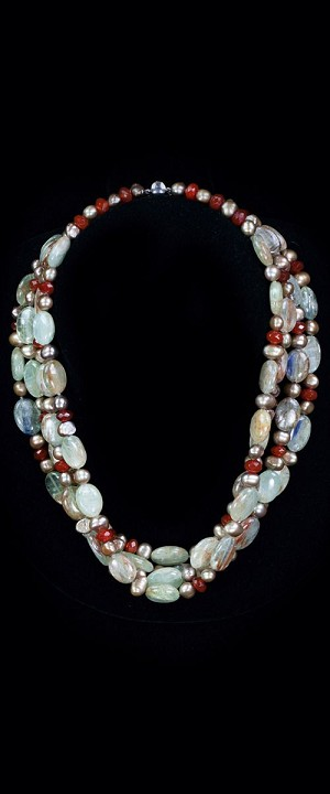 Green Kyanite and Pearl Torsade Necklace