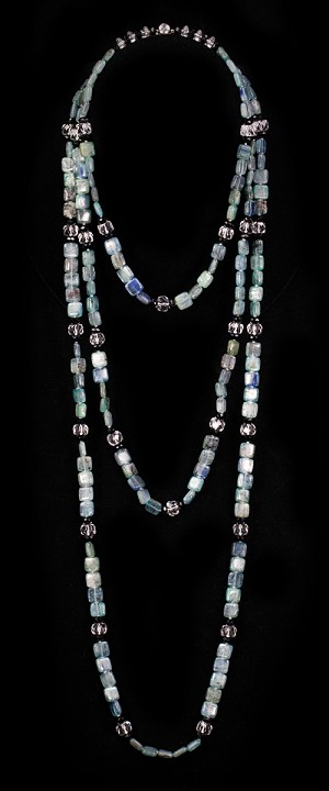 Kyanite Tiles and Onyx Graduated Necklace