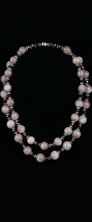 Moonstone Globes with Garnet Graduated Necklace