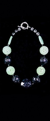 Geode Centerpiece with New Jade Choker Necklace