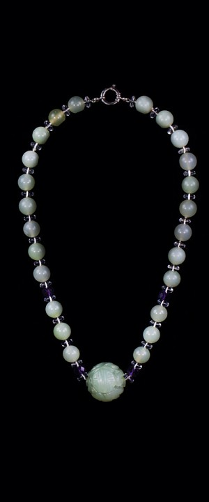 New Jade Shou with Amethyst Choker Necklace