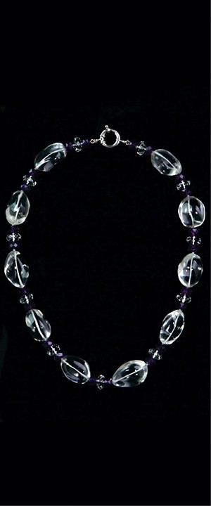 Tumbled Quartz with Amethyst Choker Necklace