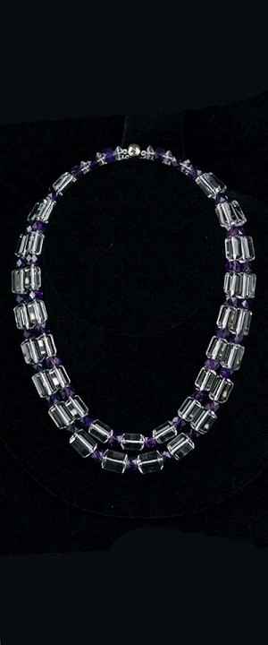 Quartz Cylinder and Amethyst Graduated Necklace