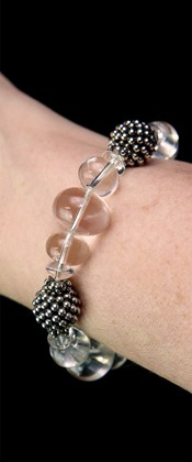 Energy Wave Quartz and Sterling Bracelet