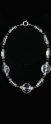 Quartz Disc Threesome and Black Onyx Necklace