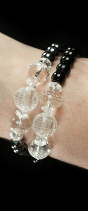 Longevity Hematite and Black Agate Bracelet Set