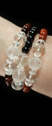 Longevity Tiger Eye, Black Agate and Red Jasper Three Bracelet Set