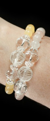 Longevity Ambronite and Rose Quartz Two Bracelet Set