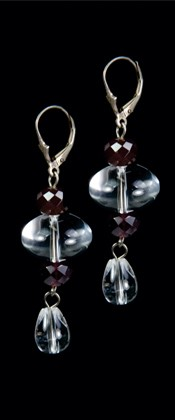 Quartz Ellipse and Garnet Earrings