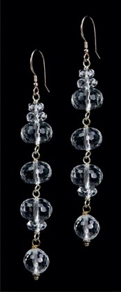 Faceted Triple Ellipses Quartz Earrings