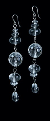 Quartz Earrings with Faceted Globe