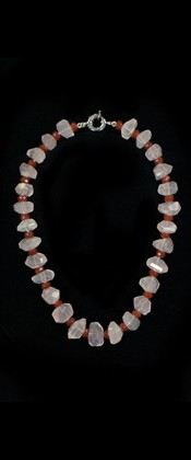 Rose Quartz and Carnelian Choker Necklace