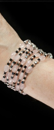 Rose Quartz with Hematite Torsade Bracelet