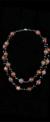 Red Rutilated Quartz and Smoky Quartz Graduated Necklace