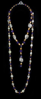 Rutilated Quartz and Amethyst Pendant and Opera Necklace Set